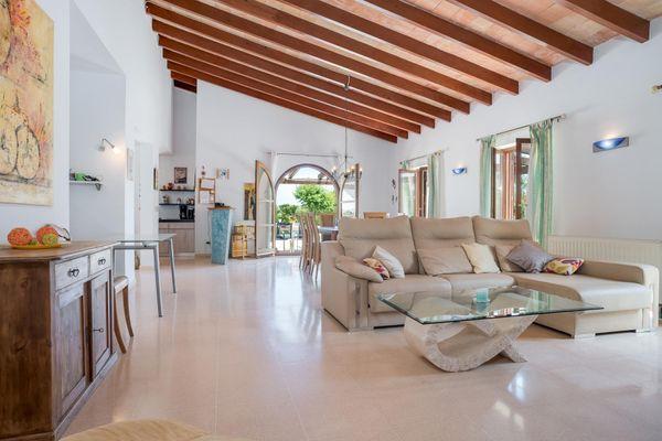 Lichtdurchfluteter Wohnbereich mit bequemer Couch